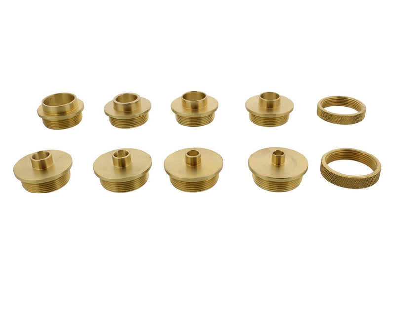 DCT Brass Router Template Guides Bushing 8-Piece Set and 2 BONUS Lock Nuts - Porter-Cable Guide Bushings 5/16 to 1 Inch