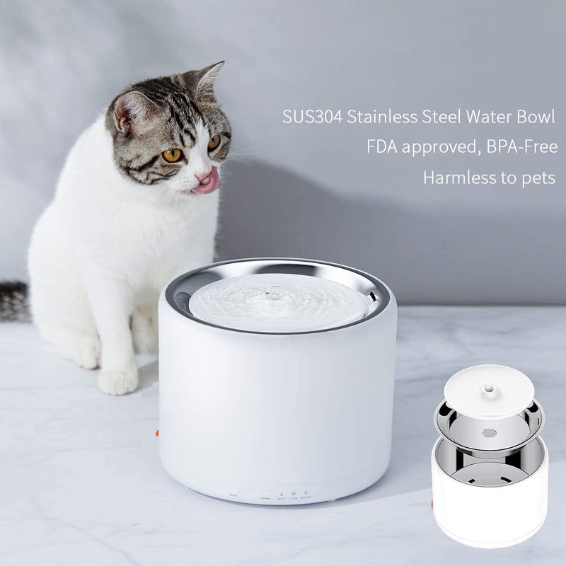 Toozey Cat Dog Water Fountain Stainless Steel, Ultra-Quiet Pet Water Fountain for Cats Dogs, Automatic Cat Dog Water Dispenser with Burnout Prevention Pump, Smart LED Light, Dual Working Mode