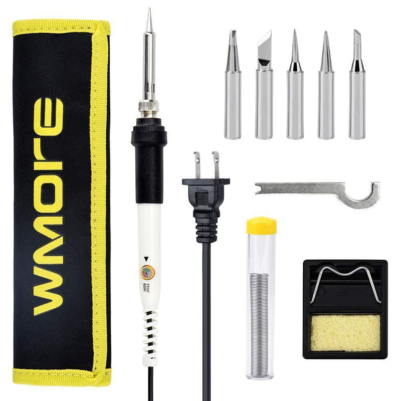Wmore Soldering Iron Kit Welding Tools, 110V 20W to 60W Adjustable Temperature Soldering Iron, 1xSolder Wire, 5xSoldering Tips, 1xSoldering Stand, Perfect for DIY Soldering Project