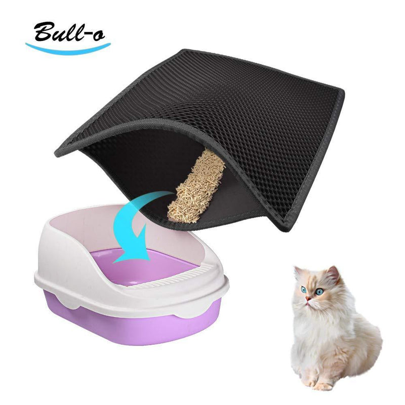 "Bull-o Cat Litter Mat Litter Trapper Size 24"" X 15"", Honeycomb Double-Layer Design Waterproof Urine Proof Material, 2-Layer Sifting Easy Clean Scatter Control"