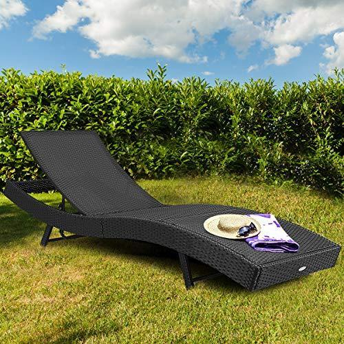 Tangkula Outdoor Patio Chaise Lounge Chair Ergonomic Shape Handwoven Outdoor Patio Pool Furniture with Heavy Padded Non-Slip Cushions Backrest Adjustable Wicker Chaise Lounger