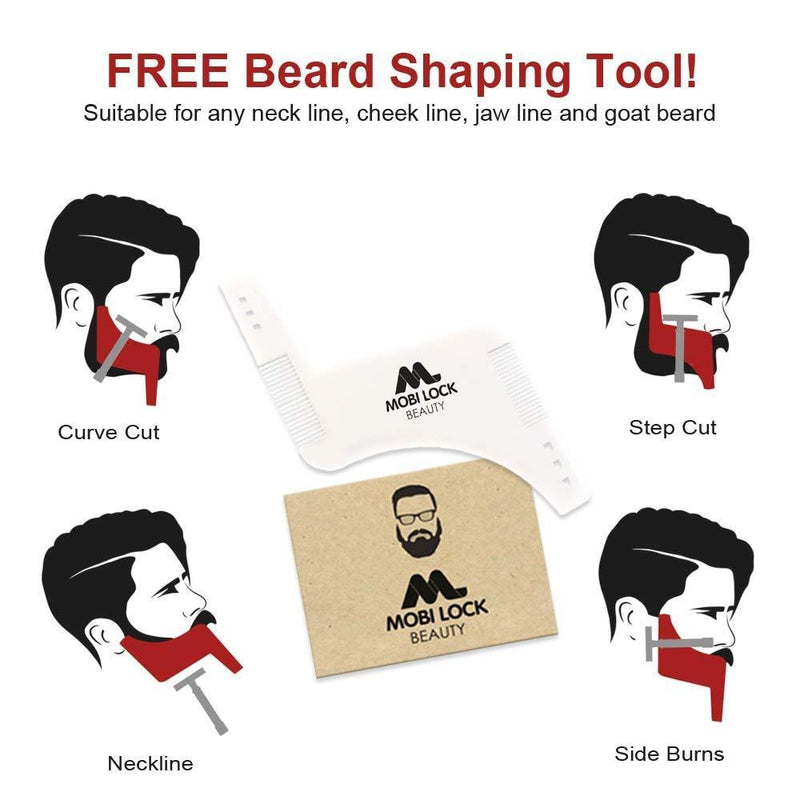 Best Beard Shaving Bib – The Smart Way to Shave – Beard Trimming Apron - Perfect Grooming Gift or Mens Birthday Gift – Includes Shaping Comb, Bag, and Grooming E-Book by Mobi Lock