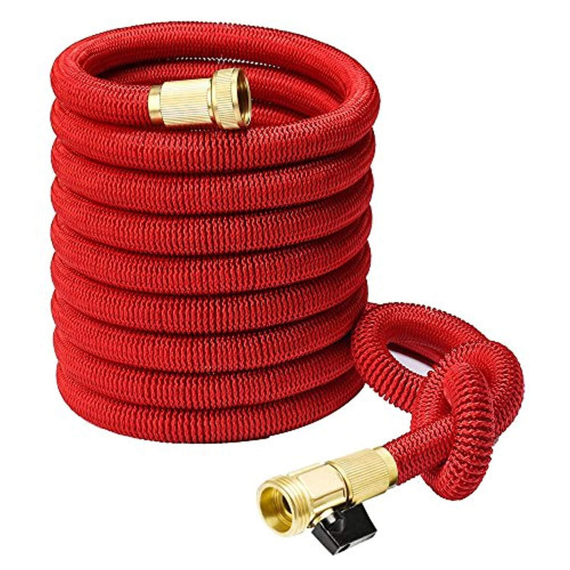 Heavy Duty 50ft Expanding Garden Water Hose - Triple Strength Outer Fabric - Flexible & Expandable - Won't Twist & Kink - Brass Fittings by Gardenite