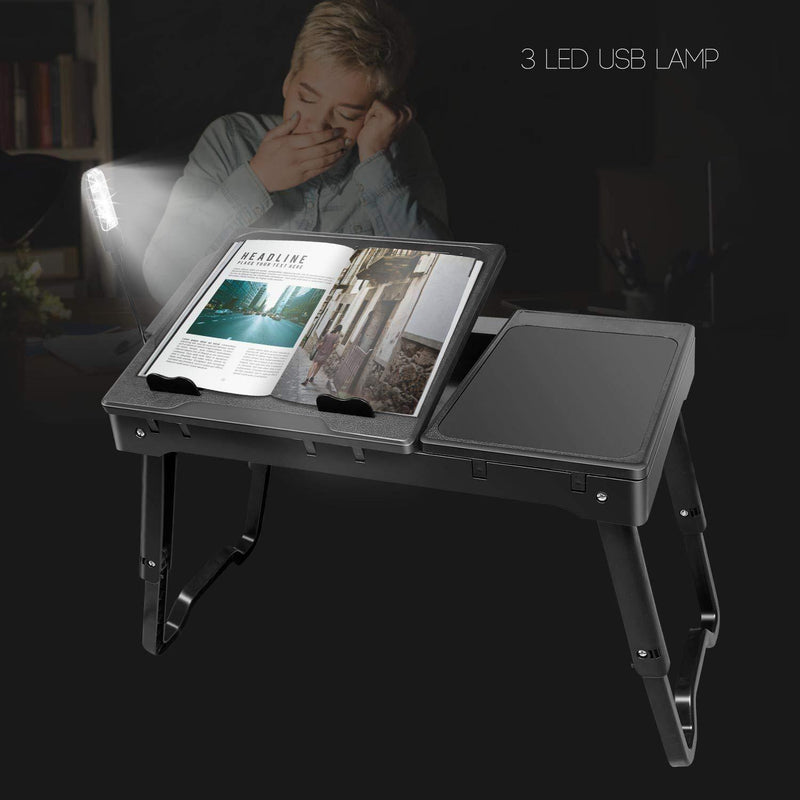 Laptop Table for Bed-Moclever Multi-Functional Laptop Bed Tray with 2 Independent Laptop Stands-Foldable Adjustable to 2 Different Heights-Internal Cooling Fan for Laptop Desk-LED Desk Lamp-4 Port USB