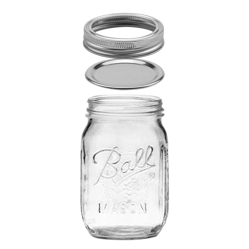 Tebery 12 Pack Ball Printed Glass Jars 16 oz Mason Glass Jars with Regular Mouth Canning Glass Jars with Lids
