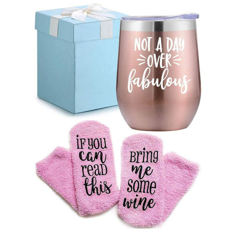 Wine Gifts Set for Women Wine Socks Gifts + Wine Tumbler with Funny Saying Not a Day Over Fabulous, Gift Baskets for Birthday Women, Mom, Grandma, Wife, Aunt, Daughter by Mavisgifts