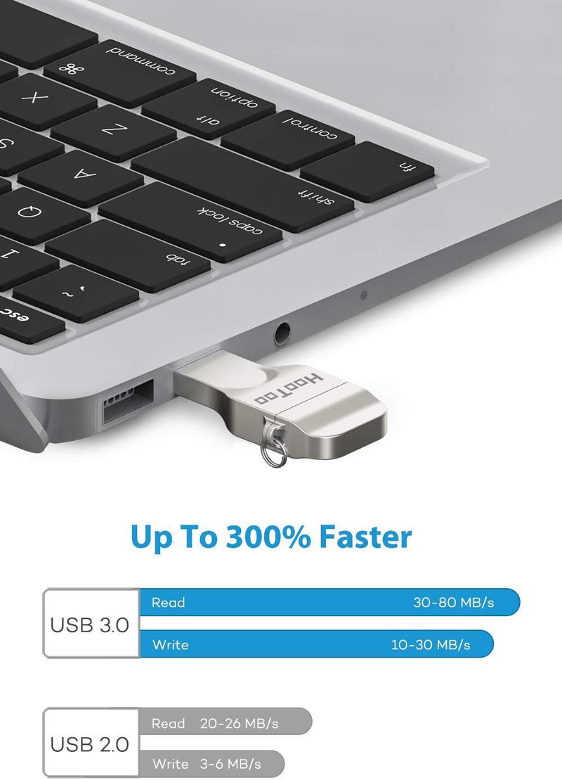 HooToo iPhone Flash Drive 256GB MFi Certified USB 3.0, iOS Photo Stick for iPhone iPad, Touch ID Encryption, Compatible iPhone X XR XS 6 6S 7 7S 8 8S iPad iOS Mac Windows