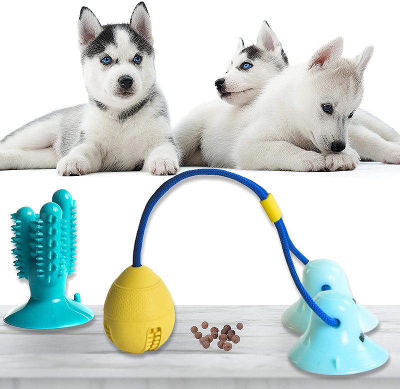 PET STATE Dog Suction Cup Toy Set, Toys for Aggressive Chewers, Puppy Dog Training Treats Teething Rope with Ball for Boredom, Dog Puzzle Treat Food Dispensing Ball Toys for Small & Large Dogs