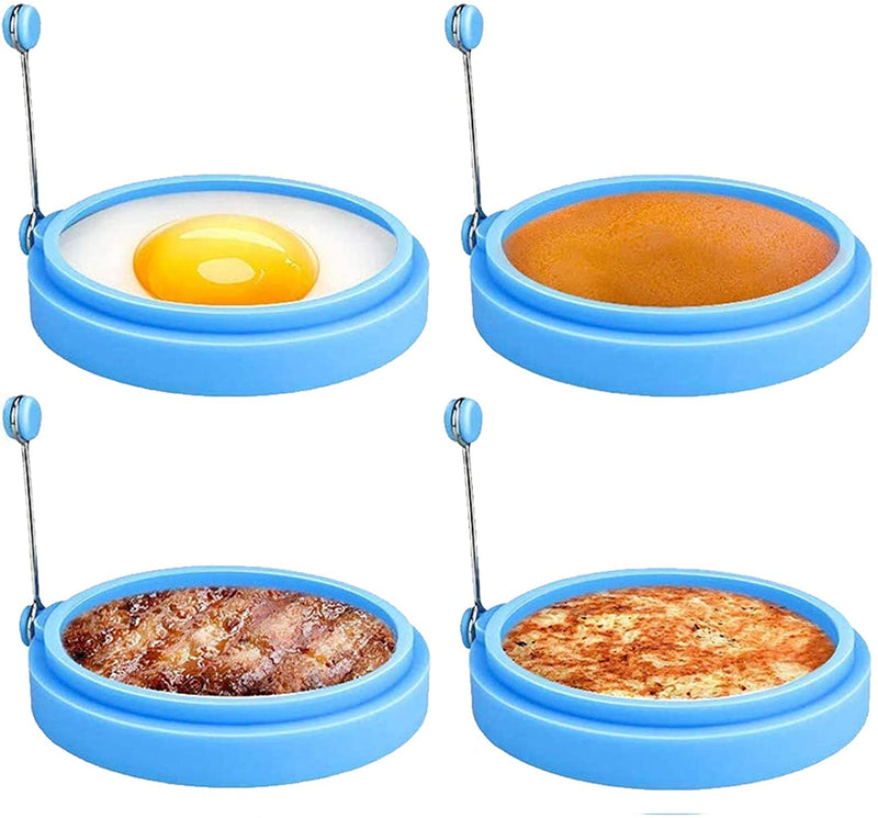 LTWQLing Silicone Egg Rings, 4 Inch Food Grade Egg Cooking Rings, Non Stick Fried Egg Ring Mold, Pancake Breakfast Sandwiches, Egg Mcmuffin Ring(Blue,4Pack)…