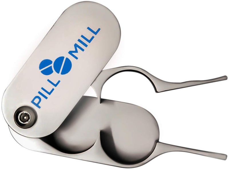 Pill Cutter Splitter by Pill Mill - Metal Blades That Will Never Dull - Grip Handle Helps to Cut Small or Large Pills with Ease - Light and Durable Tablet Divider - Perfect Medicine...