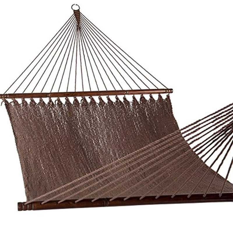 SUNMERIT Caribbean Hammock Soft-Spun Polyester Rope for Outdoor Garden Patio,450 lbs Capacity (Mocha)