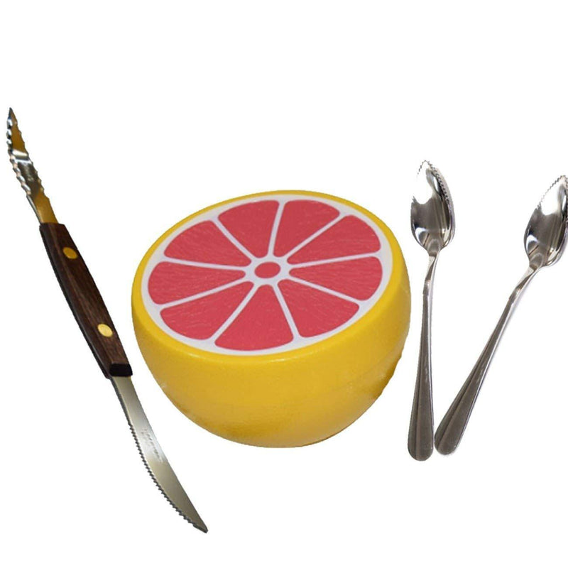 Squirtfree Serrated Twin-Blade Grapefruit Knife, Grapefruit spoons (2) stainless Steel, Serrated Edges and grapefruit saver
