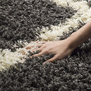 "Safavieh Dallas Shag Collection SGD257A Dark Grey and Ivory Area Rug (8'6"" x 12')"
