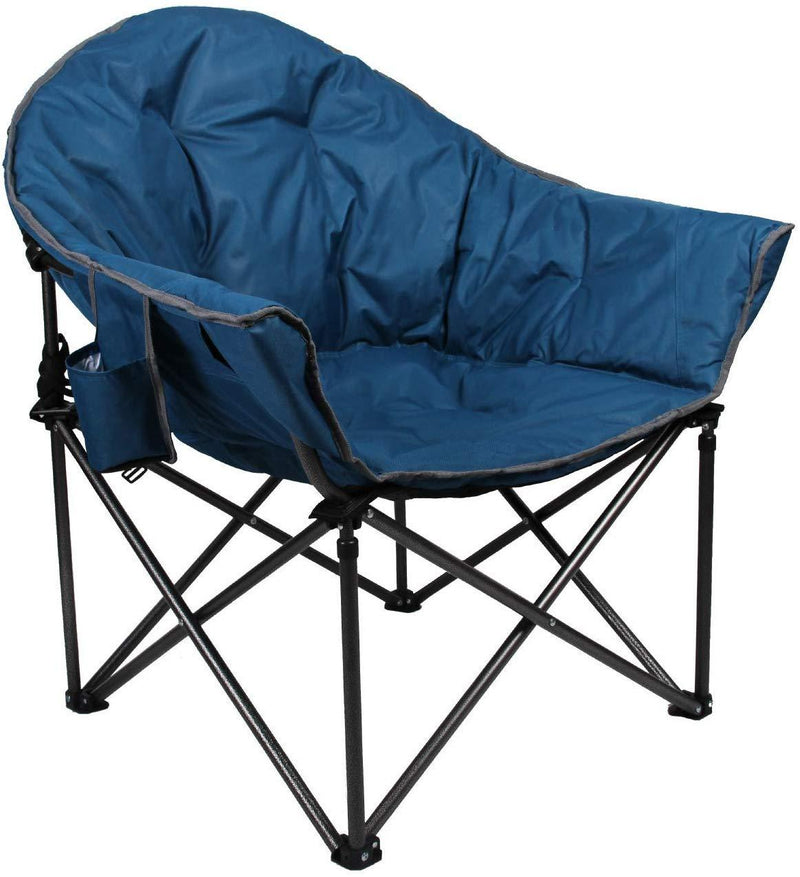 Camping World Reclining Folding Oversized Moon Saucer Chair with Cup Holder for Camping, Hiking - Saucer Support 500 LBS