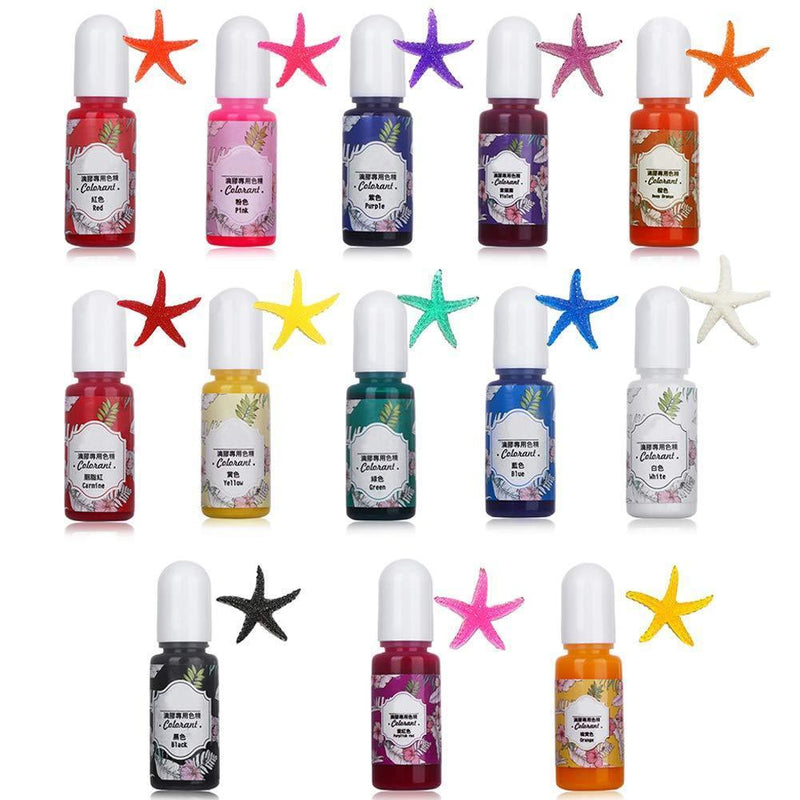 Miraclekoo 13 Colors Epoxy UV Resin Coloring Dye Liquid Epoxy Pigment Resin Colorant, Fading Resistance,10ml Each,Translucent