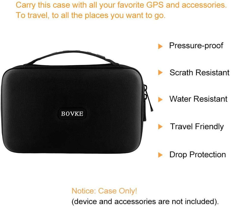 "BOVKE Carrying Case for 6"" 7"" Inch GPS Navigation Garmin Nuvi 2797LMT 2689LMT DriveSmart 61 NA LMT-S Tomtom Go Via 1625TM Portable Bluetooth Vehicle GPS Navigator and Accessories, Black"