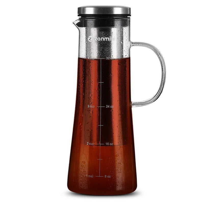 zanmini Cold Brew Coffee Maker, 6 in 1 Glass Infusion Pitcher(1 Quart/32 oz) with 304 Stainless Steel Filter and High-Grade Glass Pitcher for Hot/Cold Coffee, Tea, Fruit, Juice, Milk and Beer
