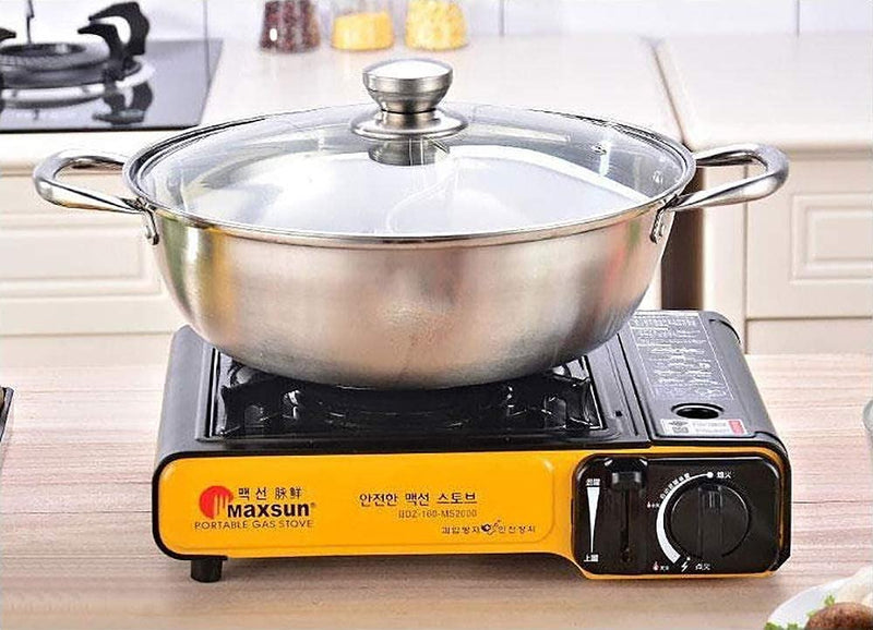 "STYFSCP Shabu Hot Pot, Hot Plate Cookware Set Ramen Cooker, Hot Pot Soup Base Stainless Steel Pot Set, 12""(30cm) Hot Pot with Divider"