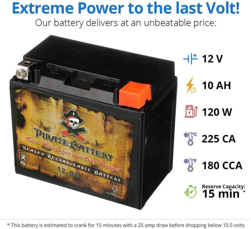 CB CHROMEBATTERY PWS-YTX12-BS High Performance Power Sports Rechargeable Maintenance Free-Sealed AGM Motorcycle Battery