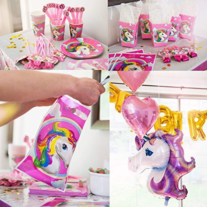 180+ PCS Complete Unicorn Party Supplies & Decorations - Glittery Unicorn Headband | Disposable Tableware Set | 30 Magical Balloons | 24 Pc Unicorn Cupcake Wrappers & Toppers | Party Favors
