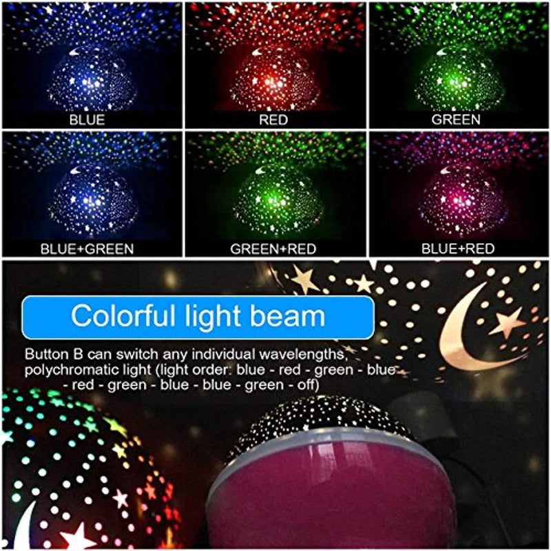 Night Light Lamp Projector, Star Light Rotating Projector, Star Projector Lamp with 8 Colors and 360 Degree Moon Star Projection with 6.5ft USB Cable, Unique Lamp for Children Nursery Room Pink