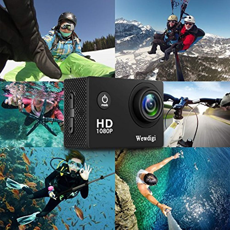 Wewdigi EV5000 Action Camera, 12MP 1080P 2 Inch LCD Screen, Waterproof Sports Cam 140 Degree Wide Angle Lens, 30m Sport Camera DV Camcorder with 10 Accessories Kit … (1080p, Black)