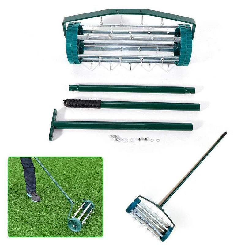 BSTOOL Rolling Garden Lawn Aerator Roller,Yard Rotary Push Tine Spike Soil Aeration Home Grass Steel Handle Heavy Duty