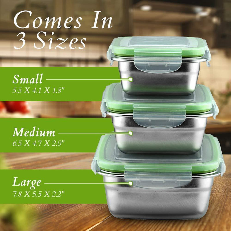 Klee Utensils 3-Piece Reusable Stainless Steel Food Storage Containers