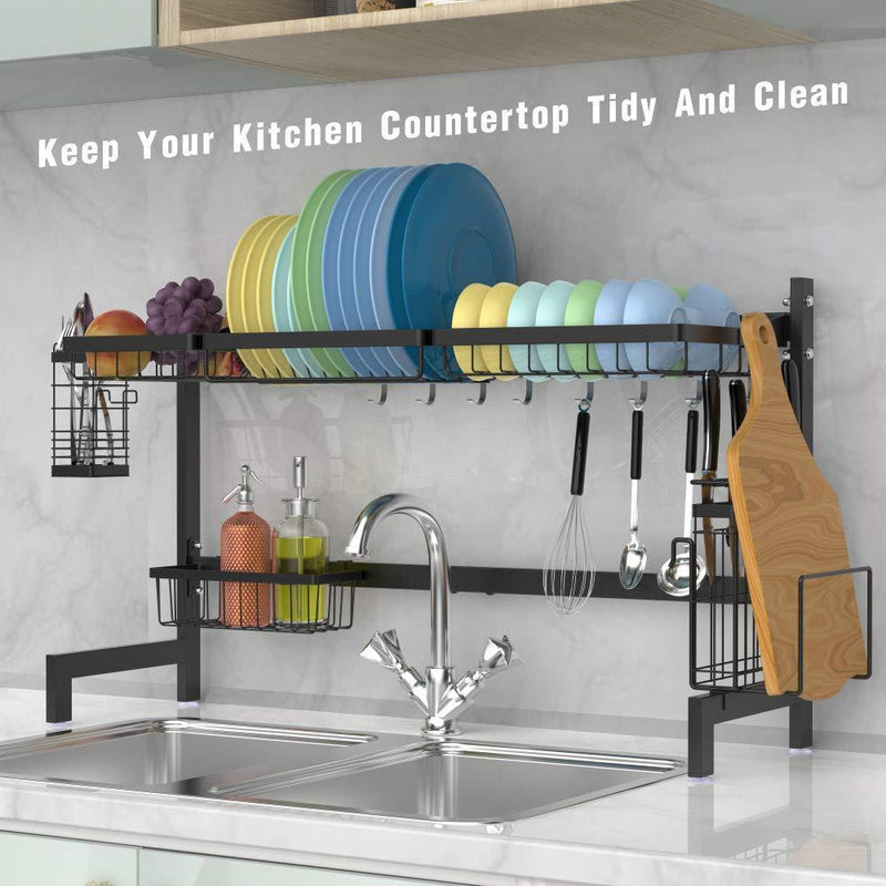 Over the Sink Dish Drying Rack, Cambond Dish Drainer Shelf Stainless Steel Dish Rack with Utensils Holder for Kitchen Counter