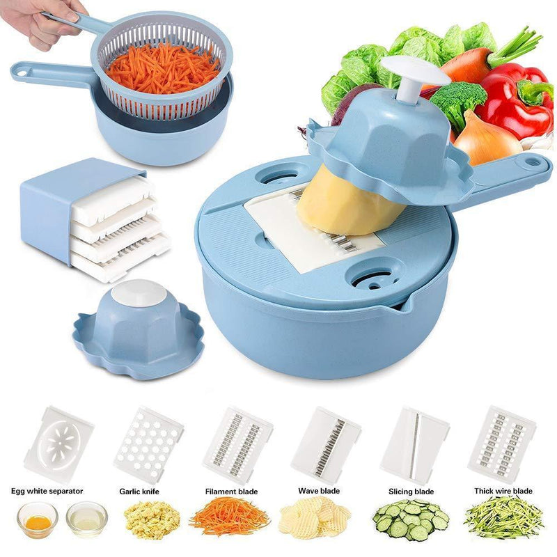 Yoocaa Vegetable Mandoline Slicer, Kitchen 10 in 1 Multipurpose Stainless Steel Fruit and Vegetable Chopper Cutter Slicer Grater, Meals Veggie & Food Dicer