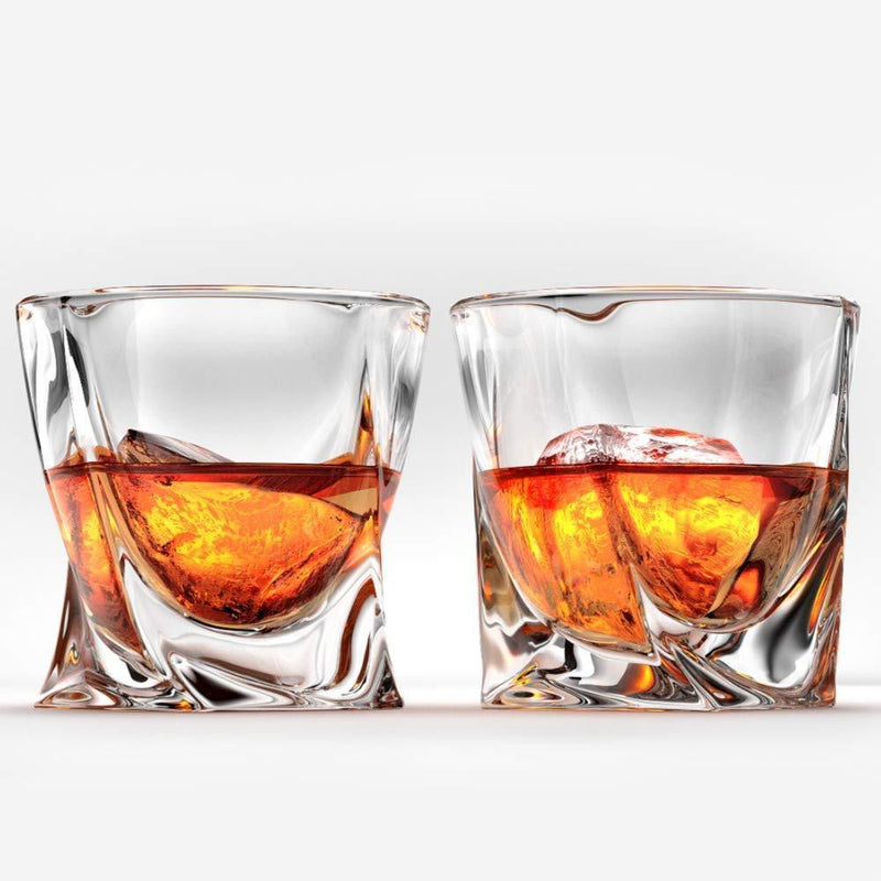 Ashcroft Twist Whiskey Glass Set or 2, Unique Modern Rocks Lead Free Crystal Glasses for Scotch or Bourbon With Luxury Gift Box