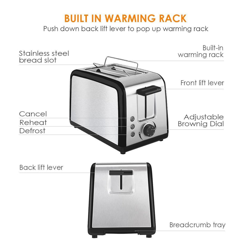 Toaster 2 Slice Warming Rack Brushed Stainless Steel for Breakfast Bread Toasters Defrost Reheat Cancel Button Removable Crumb Tray By CUSINAID