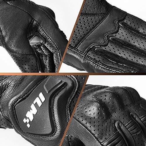 ILM Goatskin Leather Motorcycle Motorbike Powersports Racing Gloves Touchscreen For Men and Women Black (XXL, Black Perforated)