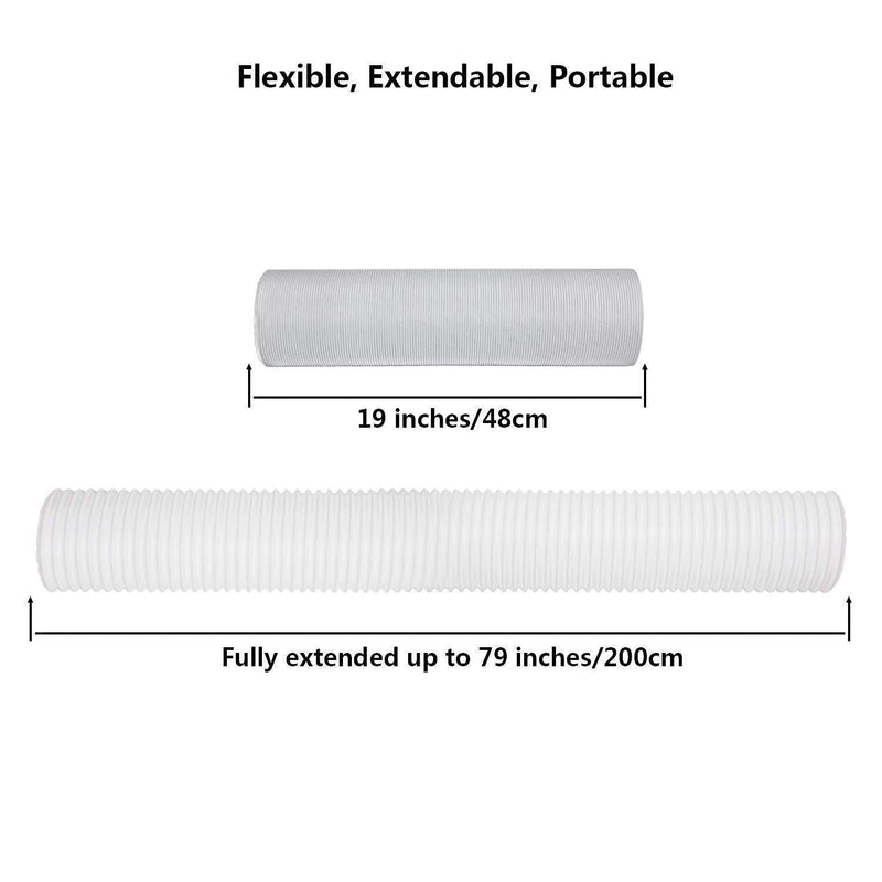 "Portable Air Conditioner Exhaust Hose (78"" Long) 5 Inch Diameter, Counter-Clockwise Threads 