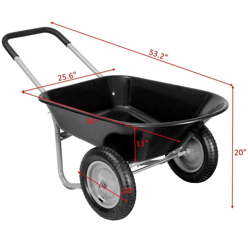 Giantex 2 Tire Wheelbarrow Yard Garden Cart Heavy Duty Landscape Wagon for Outdoor Lawn Use Utility Hualing Cart 330Lbs Load Capacity, Black