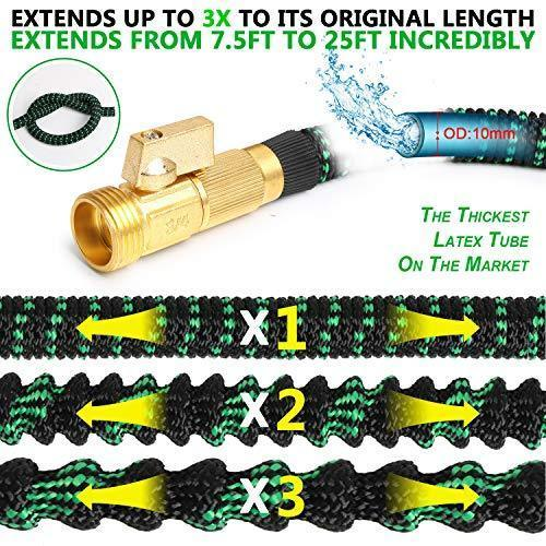 "Expandable Garden Hose, 100 FT Lightweight Water Hose, 9 Functions Sprayer with Double Latex Core, Green Black Expandable Hose with 3/4"" Solid Brass Fittings, Extra Strength Fabric"