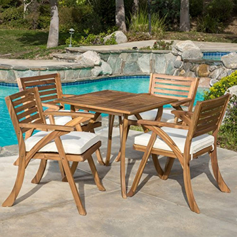 Christopher Knight Home 296620 Deal Furniture Deandra | 5-Piece Wood Outdoor Dining Set with Cu, Natural Stain