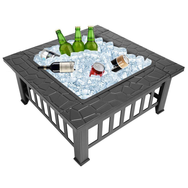 "Bonnlo 32"" Fire Pit Outdoor Wood Burning Table Backyard, Terrace, Patio, Camping - Includes Mesh Spark Screen Top and Poker"