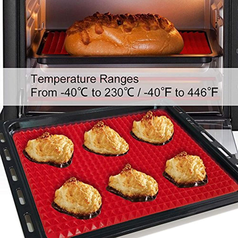 "Silicone Baking Mat, 2 Pcs Holoko Non-stick Cooking Mats, Oil Drain and Pyramid Design for Turkey,Pizza and Cookie Sheet - 16"" x 11.5"""