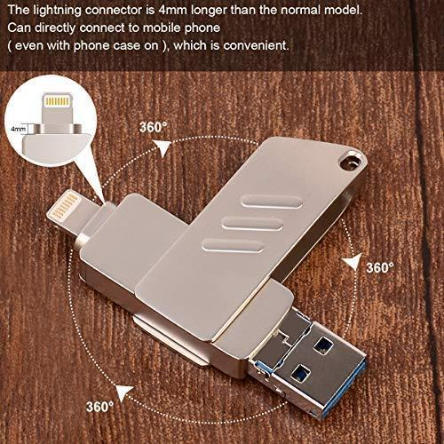 iOS Flash Drive for iPhone Photo Stick 32GB Memory Stick USB 3.0 External Storage Lightning Memory Stick for iPhone iPad Android Type c and Computers