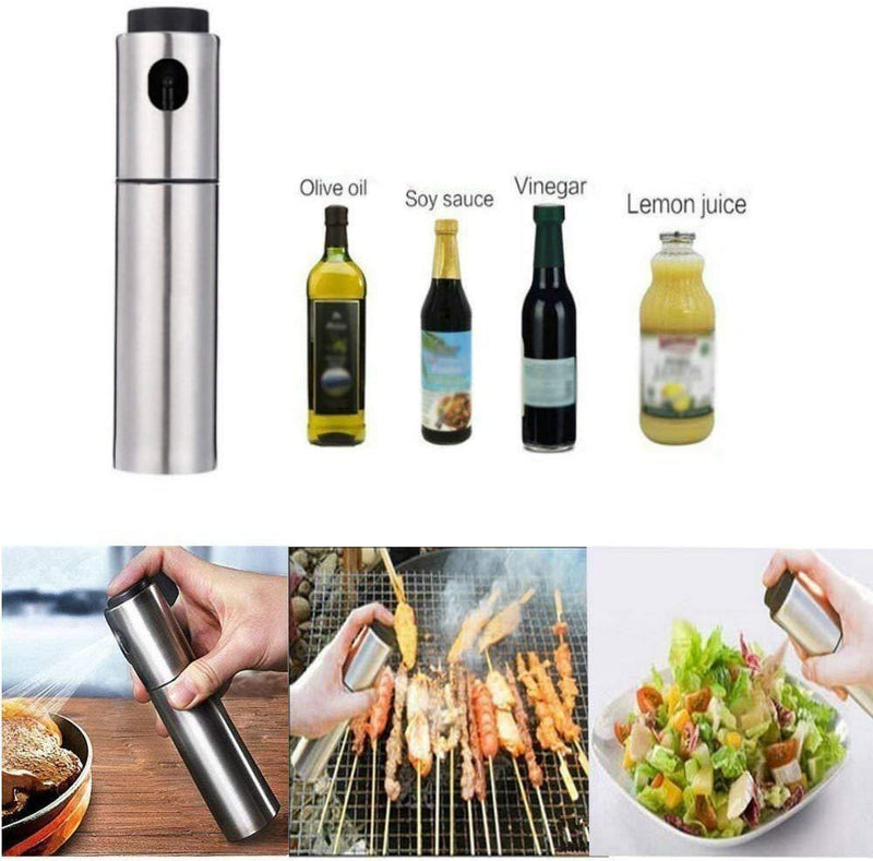 100ml Food Grade Stainless Steel Refillable Olive Oil sprayer for cooking, Salad Oil Dressing,BBQ, Grilling and Roasting, JSDOIN Cooking wine & Vinegar Sprayer