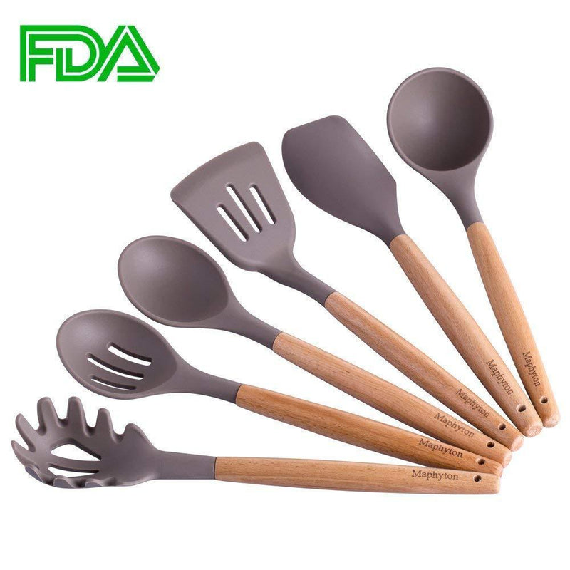Silicone Cooking Utensils, 6 Pieces Nonstick Kitchen Tool Set BPA Free with Natural Acacia Hard Wood Handle by Maphyton