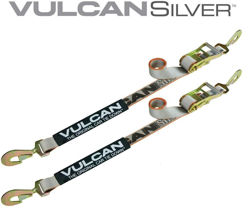 Vulcan Silver Series 2'' Snap Hook Auto Tie Down w/Twisted Snap Hook Ratchet (Pack of 2) Safe Working Load - 3300 lbs.