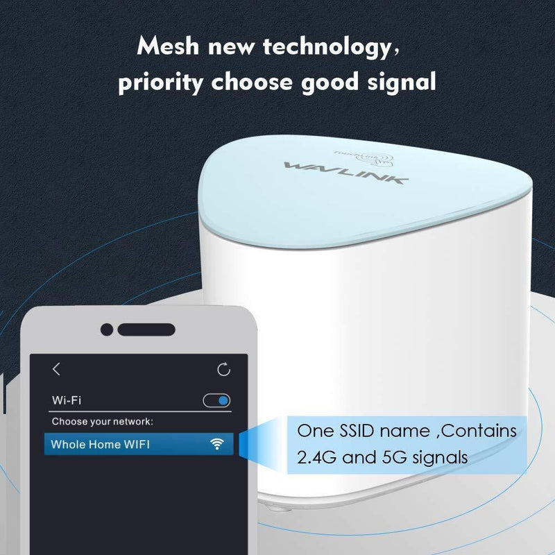 Wavlink WiFi Mesh System Router with Touchlink Halo Pro – AC2100 MU-MIMO Dual-Band Whole Home, Gigabit, Automatic Networking,Extender Kit and Easy Setup