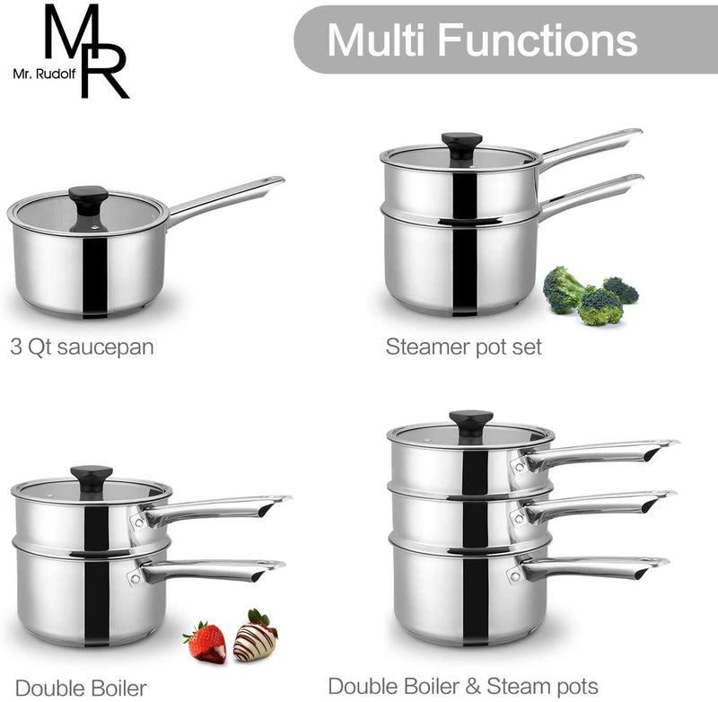 Mr Rudolf Double Boiler & Steam Pots for Melting Chocolate, Candle Making and more - Stainless Steel Steamer with Fashion Flat Glass Lid for Clear View while Cooking, Dishwasher & Oven Safe - 3 Qts & 4 Pieces