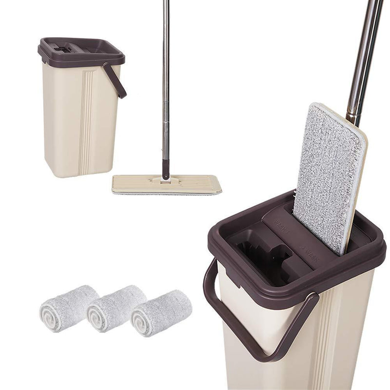 BOOMJOY Squeeze Flat Mop, 1 Bucket, Wet Dry Floor Cleaning Hand Free, 3 Reusable Mop Pads, Stainless Steel Handle