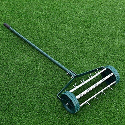 Rolling Lawn Aerator 18-inch Garden Yard Rotary Push Tine Heavy Duty Spike Soil Aeration, 50-in Handle (Silver)