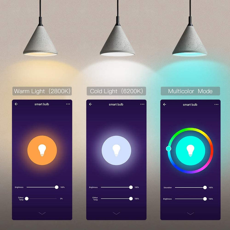 T TECKIN Smart WiFi Light Bulb with Warm White, TECKIN 16 Million RGBCW Color Changing Led Bulb ,Works with Alexa, Echo, Google Home & Siri (No Hub Required), 7.5W 2700K-6500K,4 Pack