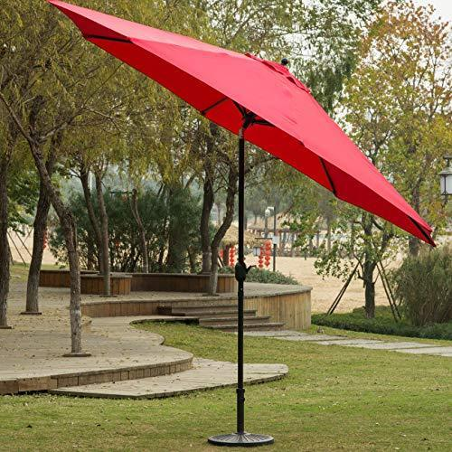 Sunnyglade 9ft Patio Umbrella Replacement Canopy Market Umbrella Top Outdoor Umbrella Canopy with 8 Ribs (Red)