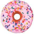 "iscream Sugar-riffic Donut Shaped Bi-Color 16"" Photoreal Print Microbead Pillow, Pink Front/Chocolate Back, 16""Wx16""H"